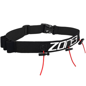 Zone3 Race Number Belt with Energy Gel Loops | Black Red White