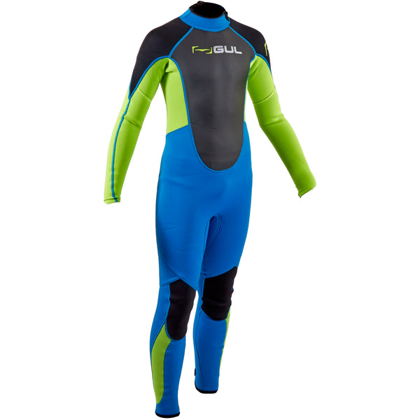 Gul Response 3/2mm Junior Full Length Westsuit in Zafir and Lime - Front