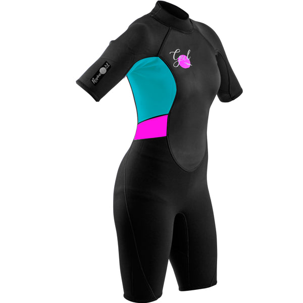 Gul Response 3/2mm Women's Shorty Wetsuit in Black and Cyan - Front