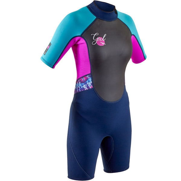 Gul Response 3/2mm Girls Shorty Wetsuit in Navy and Pink - Front