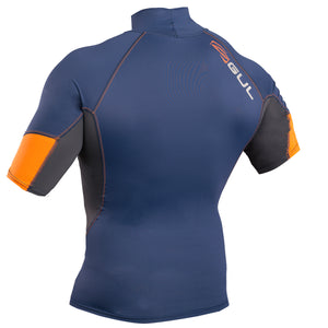 Gul Xola UV50 Men's Short Sleeve Rash Vest | Blue Orange Back