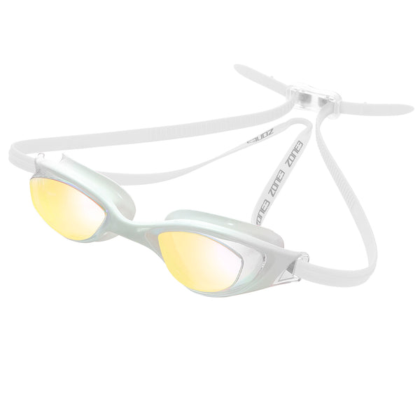 Zone3 Aspect Swimming Goggles with Mirrored Lenses | White/Clear