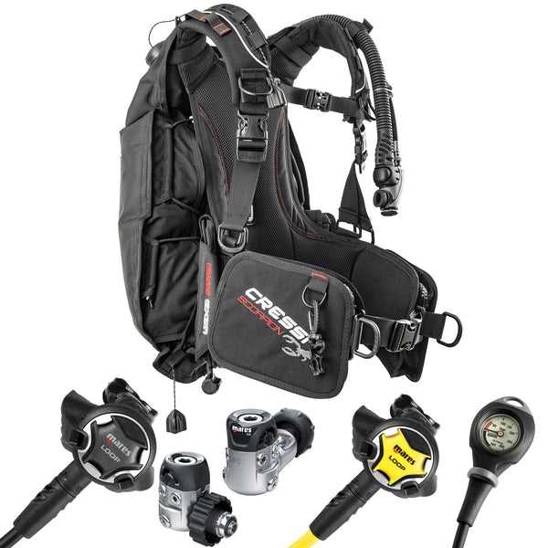 Cressi Scorpion BCD and Mares Loop Regulator Package