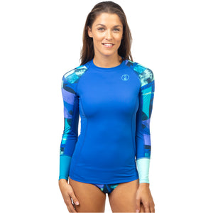 Fourth Element Women's Hydroskin Ocean Positive UV Fin Top - Blue Front