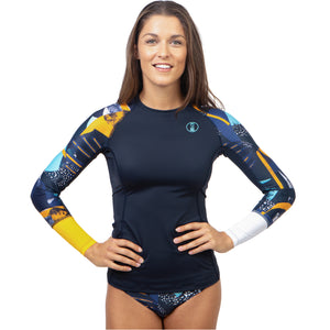 Fourth Element Women's Hydroskin Ocean Positive UV Fin Top - Midnight Front