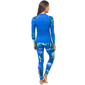 Fourth Element Women's Hydroskin Ocean Positive Fin UV Leggings - Blue with top back