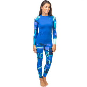 Fourth Element Women's Hydroskin Ocean Positive Fin UV Leggings - Blue with top