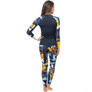 Fourth Element Women's Hydroskin Ocean Positive UV Fin Top - Midnight back with leggings