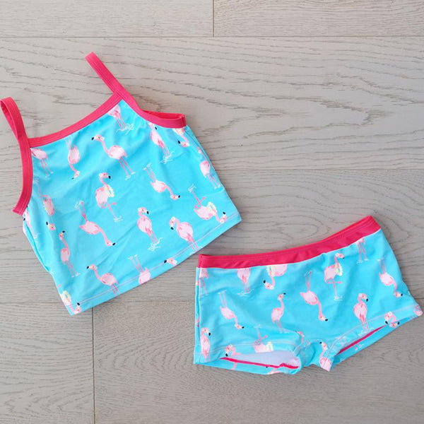 Big Fisch Flamingo Girl's 2 Piece Tankini