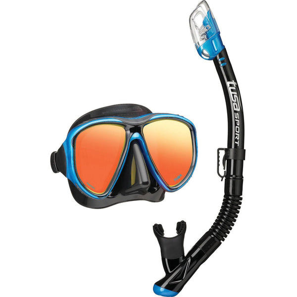 TUSA Powerview Mirrored Mask & Dry Snorkel Set - Black/Fishtail Blue
