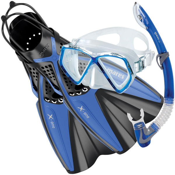 Mares Pirate Mask & X-One Fins Snorkelling Set for Juniors | Blue