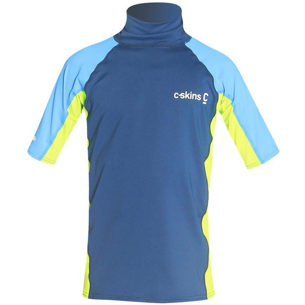 C-Skins Junior UV50 Short Sleeve Rash Vest | Navy/Lime