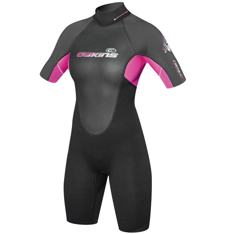 C-Skins Element 3/2mm Girls Summer Shorty Wetsuit | Black/Magenta