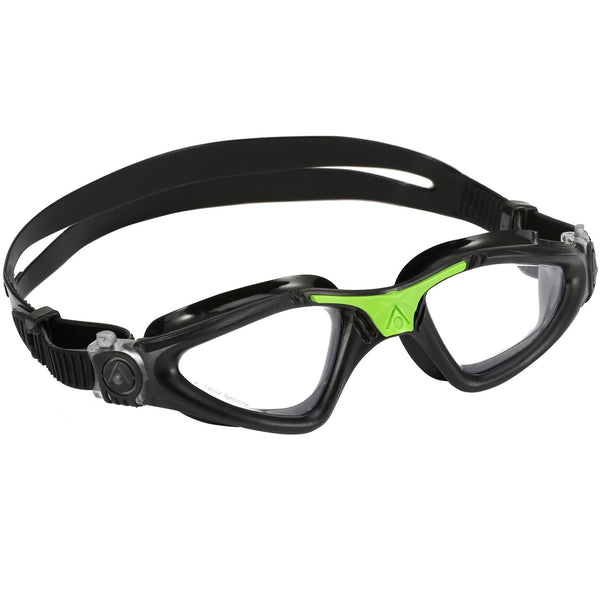 Aqua Sphere Kayenne Swimming Goggles | Black/Green with Clear Lenses
