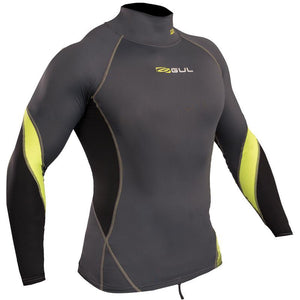 Gul Xola Mens UV50 Long Sleeve Rash Vest | Graphite/Lime