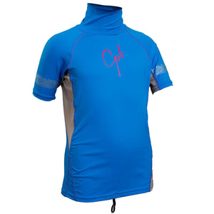 Gul Junior Girls UV50 Rash Vest Short Sleeve | Blue/Silver