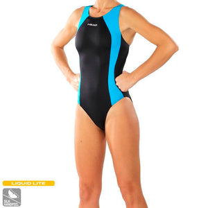 Head Solid Splice Ladies Swimsuit | Blue