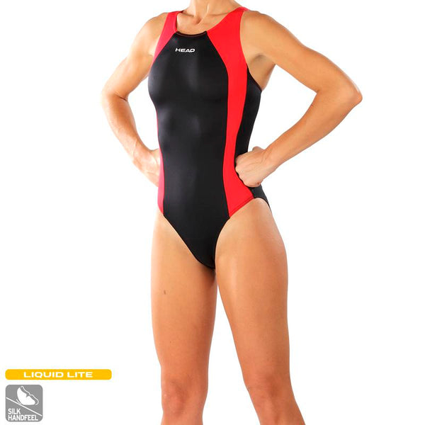 Head Solid Splice Ladies Swimsuit | Black/Red