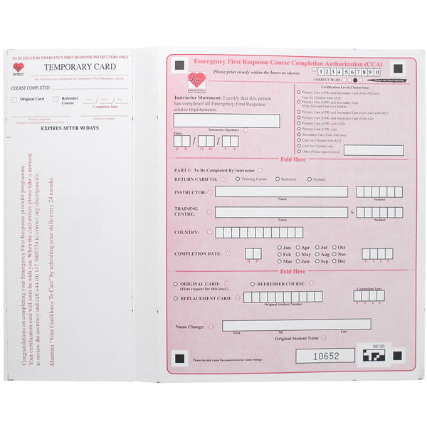 PADI EFR Completion Card Envelope