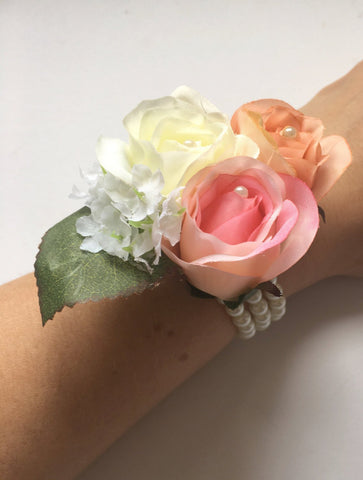 Wrist corsage, cuff bracelet, pearl bracelet, mother of the bride, prom accessory, dusky pink, peach, ivory