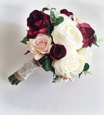 Silk wedding flowers // Marsala Wedding Bouquet // Bridal Bouquet // Artificial Wedding Bouquet // Forever Flowers // Rustic Wedding //
