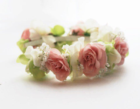 Flower Crown or Floral Head Wreath Silk Pink/Cream/green  Boho or Vintage Bride or Wedding Party