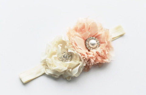 Flower girl headband, shabby chic hair accessory, peach and cream satin handmade flowers on elastic band