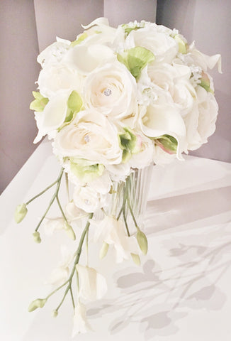 Cascading silk rose and real touch cala lily wedding bouquet