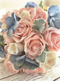 Peach and blue wedding bouquet, silk flowers, sky blue and peach, summer wedding