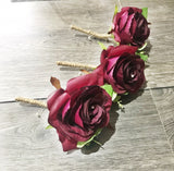 Silk rose boutonniere, marsala rose , buttonhole, rustic country wedding, twine