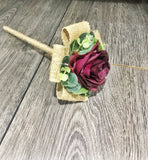 Marsala flower girl wand, rustic style with rose and eucalyptus