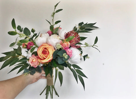 Meadow flowers, wild flowers, protea, peony bouquet, greeny, indie wedding