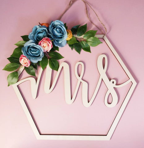 Geometric/floral/Mr&Mrs wedding sign/wooden