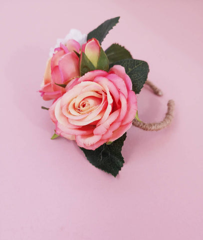Wrist corsage, cuff bracelet,twine bracelet, mother of the bride, prom accessory, pink, hot pink