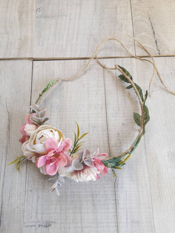 Beautiful flower crown/ Wedding hair piece/soft peony/ dusky pink/boho wedding/crown/bridesmaids/floral crown/ hair piece