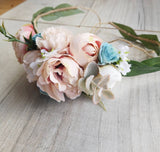 Beautiful flower crown/ Wedding hair piece/soft peony/ light dusky pink and blue/boho wedding/crown/bridal crown/ bridesmaids/floral hair piece