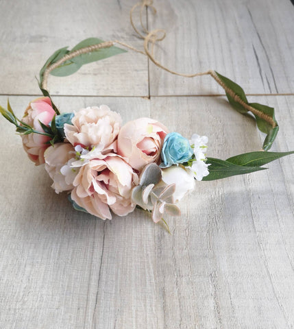 Beautiful flower crown/ Wedding hair piece/soft peony/ light dusky pink and blue/boho wedding/crown/bridesmaids/floral hair piece