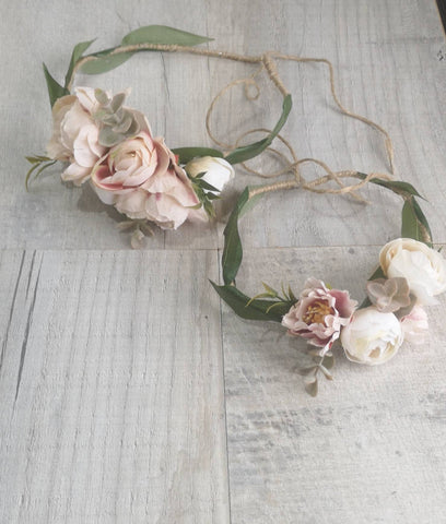 Mummy and me set/Beautiful flower crown/ Wedding hair piece/soft peony/ boho wedding/crown/bridesmaids/floral hair piece