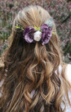Beautiful purple/aubergine flower hair slide/hair comb/ Wedding/bridahair piece/soft peony/ boho wedding/crown/bridesmaids/floral hairpiece