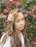 Beautiful rust/copper flower crown/ Wedding hair piece/soft peony/ boho wedding/crown/bridesmaids/floral hair piece/bridal crown