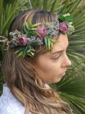 Beautiful exotic festival flower crown/ Wedding hair piece/soft peony/ boho wedding/crown/bridesmaids/floral hair piece/ bridal crown