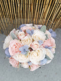 Peach and blue wedding bouquet, silk flowers, sky blue and peach, summer 2019 wedding