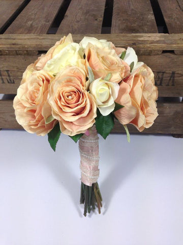 Vintage shabby chic style vintage bouquet  peach and cream roses silk wedding bouquet