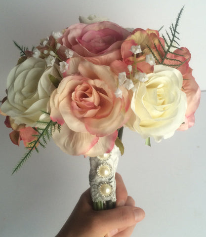 Wild flower silk bridal bouquet roses pink and cream shabby chic inspired country wedding