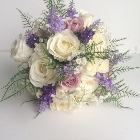 silk bridal bouquet, wild meadow flowers, roses, lavender, rustic wedding