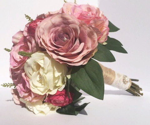 silk bridal bouquet roses ranunculus shabby chic inspired country wedding