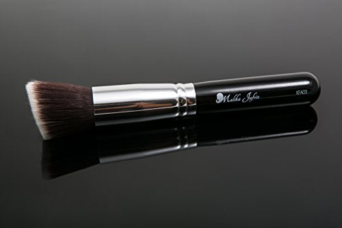 #1 Professional Angled Flat Kabuki Makeup Brush By Artist Malika Jafrin - Premium Handmade Natural/Synthetic Bristle - Angled Head To Reach Difficult Areas. Superb For Contouring On Cheekbones & Nose.