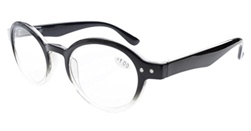 682a6c9ce33 Eyekepper Spring Hinges Round Retro Two Tone Readers Reading Glasses Black  Clear +1.75