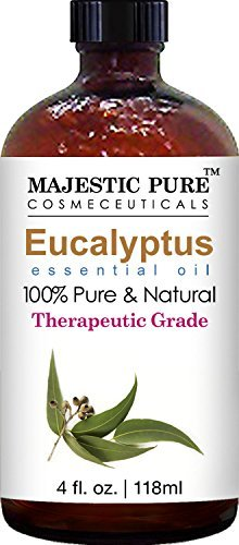 Majestic Pure Eucalyptus Essential Oil, 100% Pure And Natural With Therapeutic Grade, Premium Quality Eucalyptus Oil, 4 Fl. Oz.