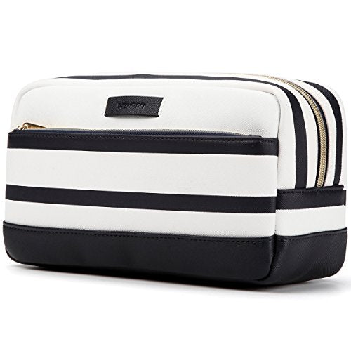 #1 Top Recommended Makeup Bag - Premium Quality - Leather Toiletry Bag - Stylish Travel Cosmetic Bag For Men&Women